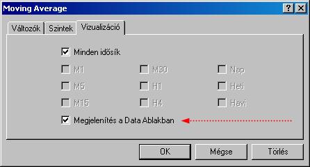 Megjelenítés a Data ablakban opció