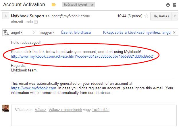 Myfxbook aktiváló e-mail