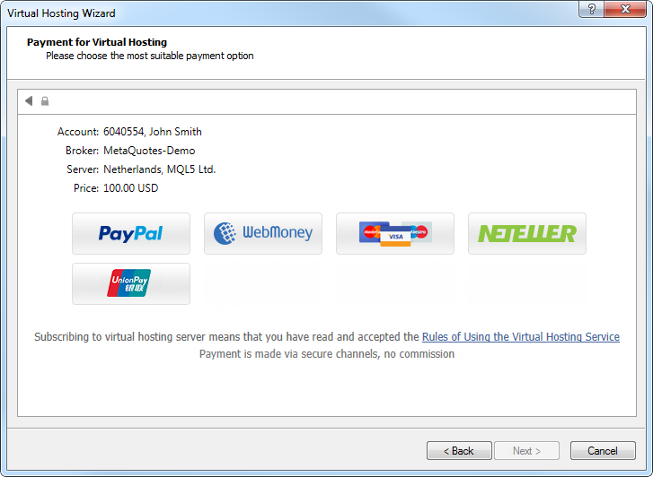 Fizetés a virtuális szerver kapcsán