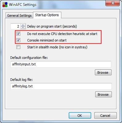 WinAFC indulási beállításai