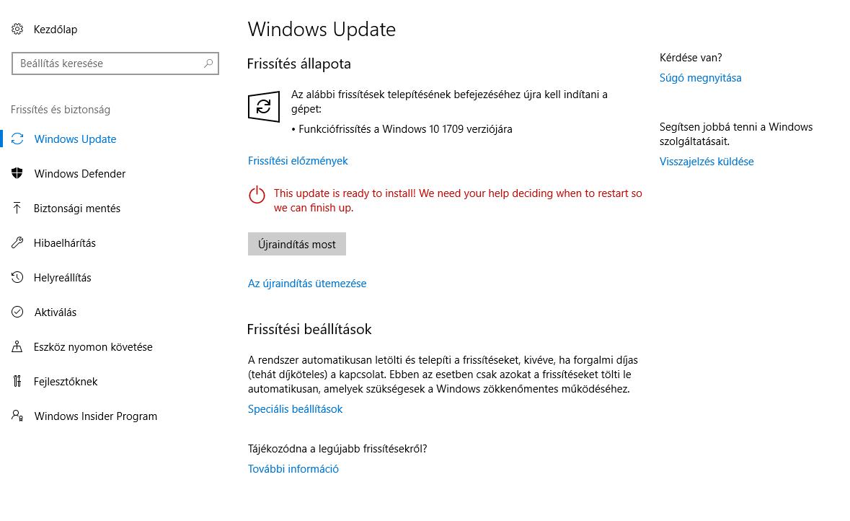 Windows 10 Őszi Alkotói Frissítés folyamatban
