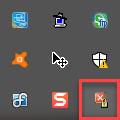 NoClose ikon, a tálcán, az óra mellett