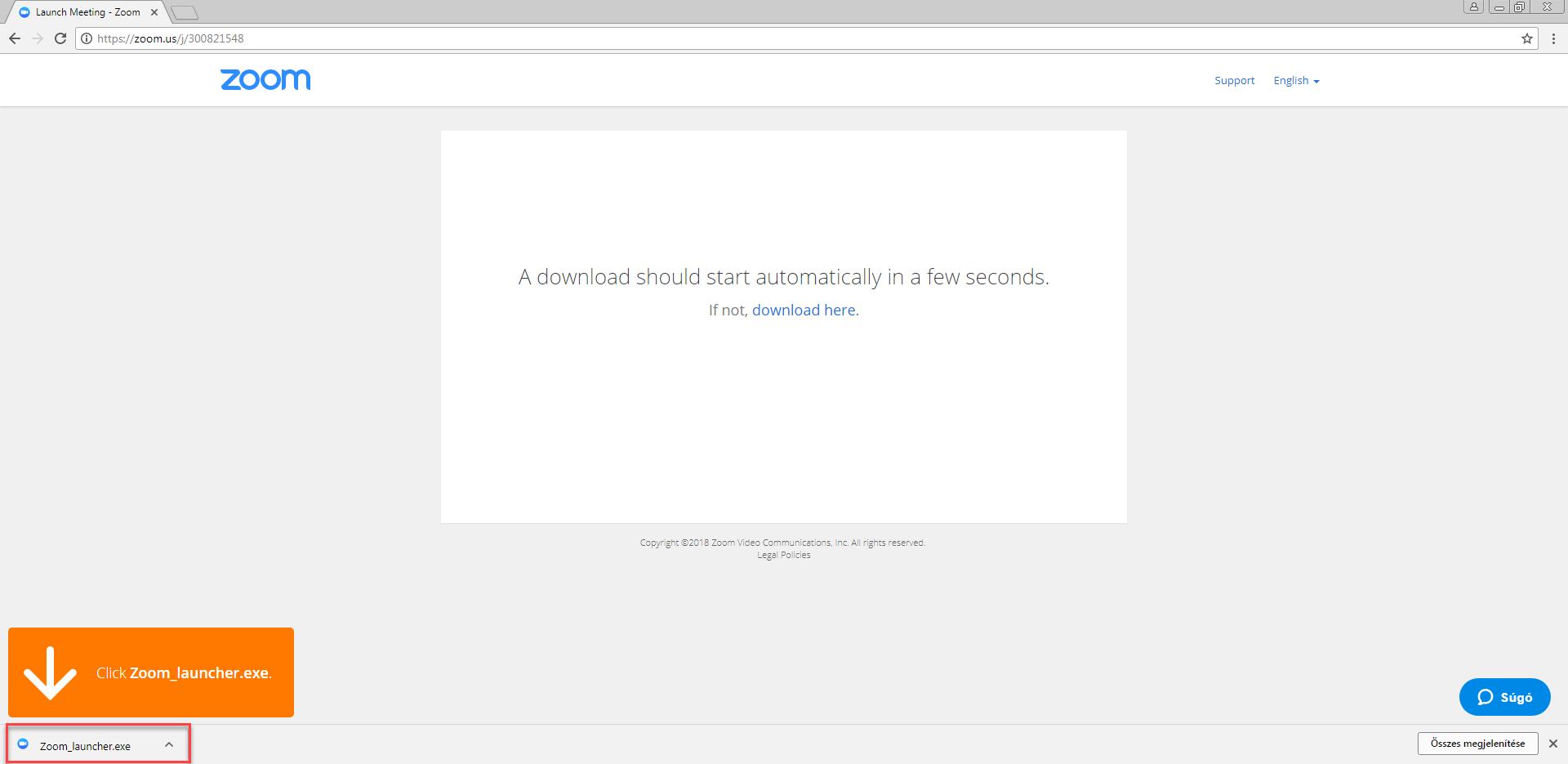 A Zoom letöltés elindul Chrome-ban