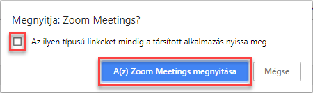 Zoom Meetings megnyitása
