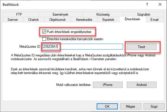 MetaQuotes ID beállítása az MT4-ben